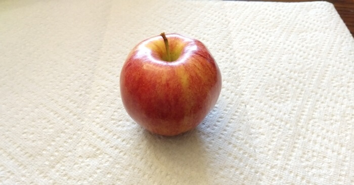 Picture of an apple. A Gala Apple to be exact.