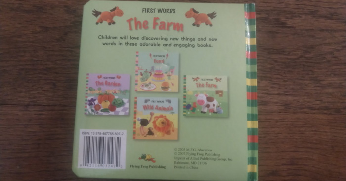 Back of First Words The Farm
