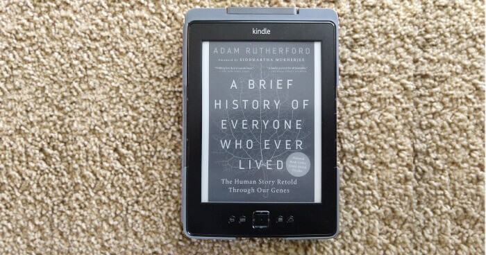 The cover of A Brief History of Everyone Who Ever Lived on my thrift-store-bought Kindle.