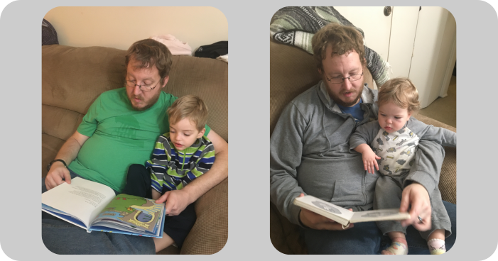 Reading to my son (left) and my daughter (right).