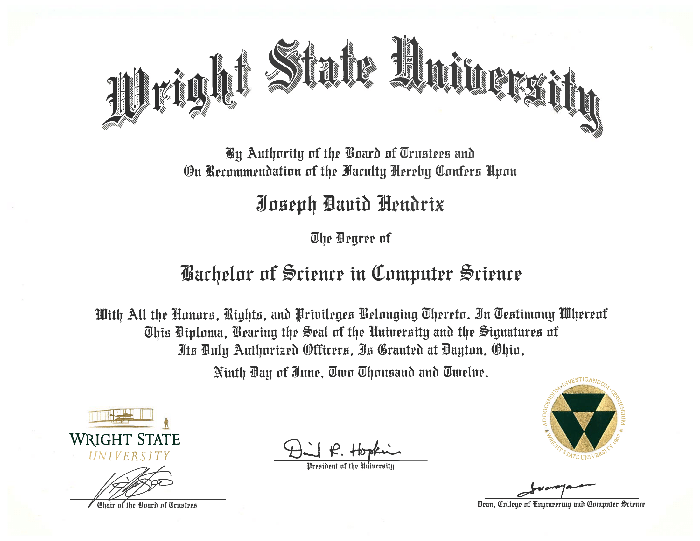 Wright State University Bachelor of Science in Computer Science