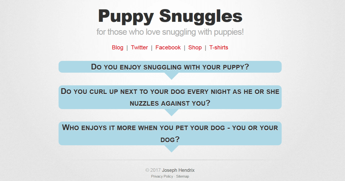 Presenting the Puppy Snuggles Webpage