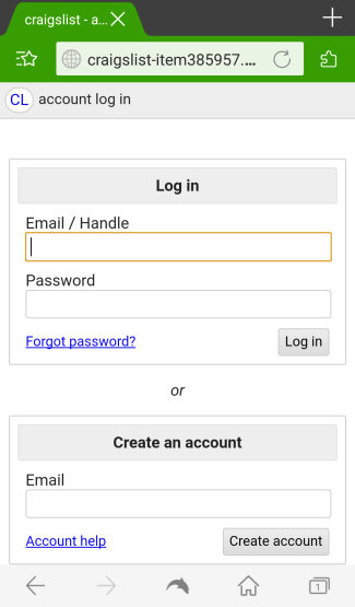 Fake Craiglist login page