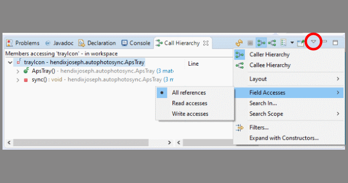 How To Find All Assignments to a Variable in Eclipse