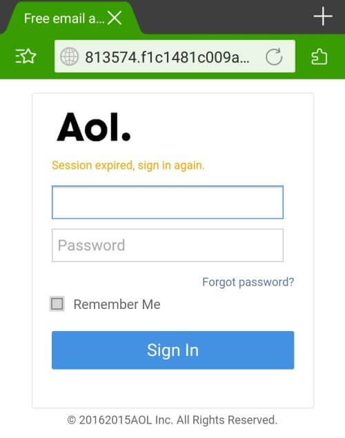 Fake AOL login page