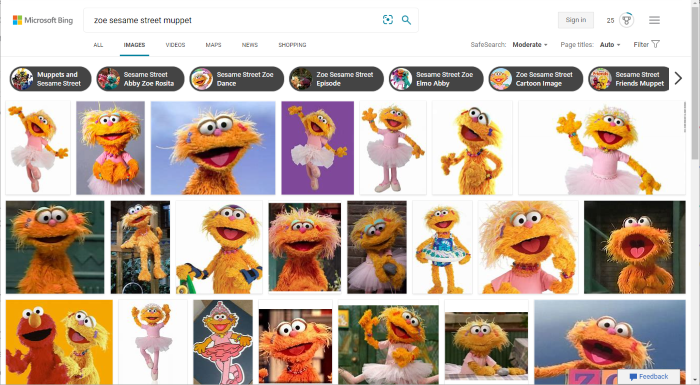 "Bing image search for ""Zoe sesame street muppet"""