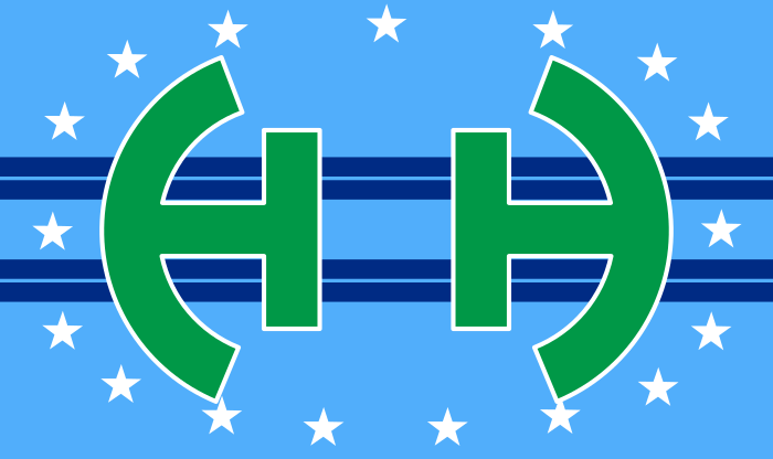 The Flag of Huber Heights, Ohio with the text and seal removed.