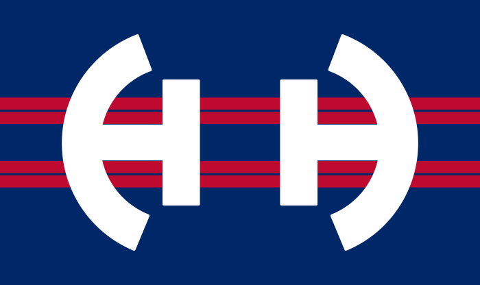 The Flag of Huber Heights, Ohio in Red, White, and Blue