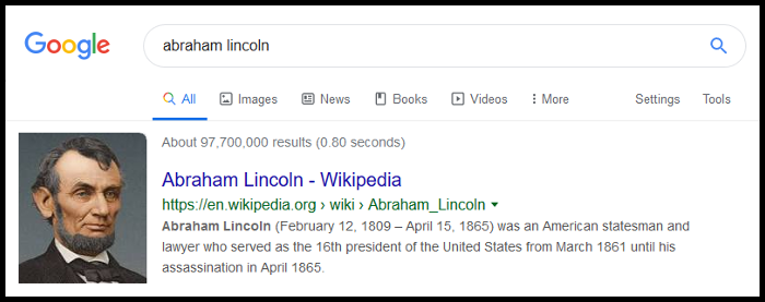 Screenshot of a Google Search for Abraham Lincoln.