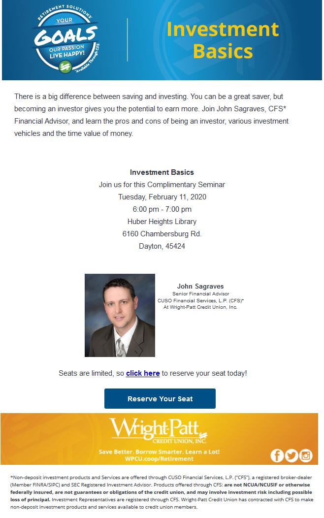 Screenshot of the Investment Basics Seminar Email