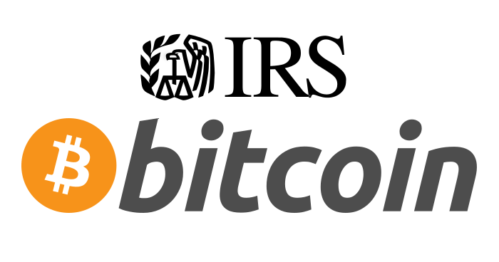 The IRS and Bitcoin logos