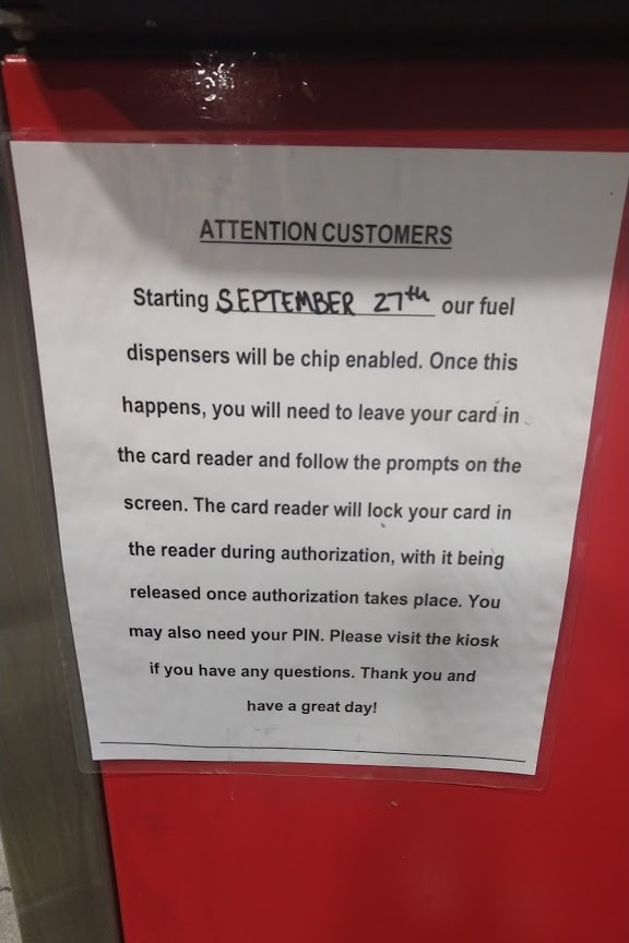Notice on the Kroger Gas Pump.
