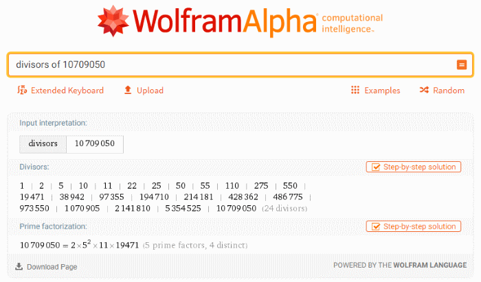 Screenshot of the Wolfram|Alpha results for divisors of 10,709,050