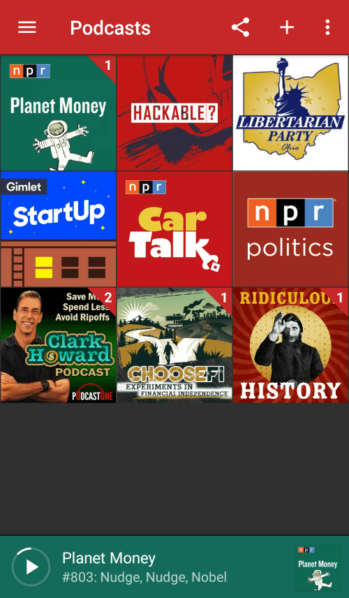 Pocket Casts My Podcasts Screen