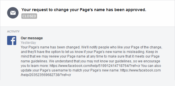 The message from Facebook approving the name change.