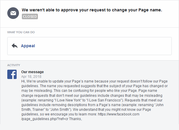 The message from Facebook rejecting the name change.
