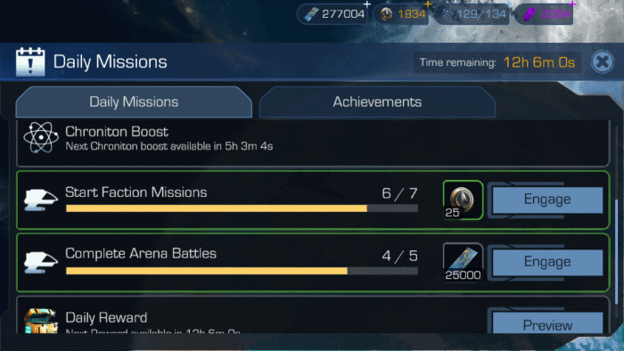 Daily Missions Screen