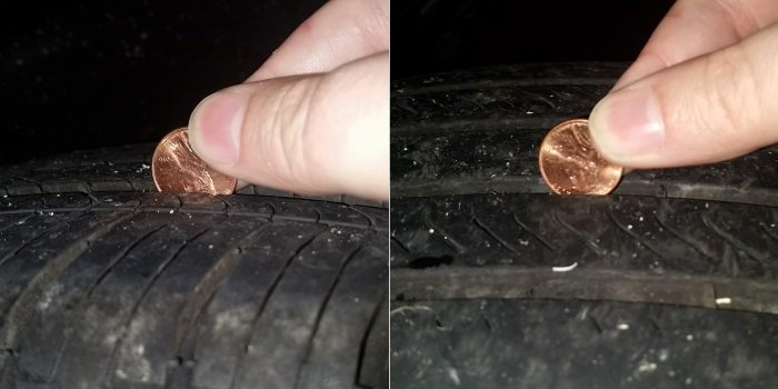 Comparing the front and rear tires with a penny.