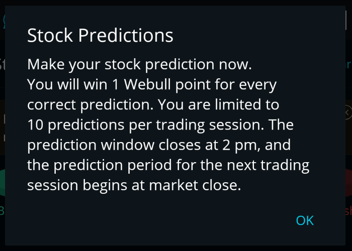 Stock Predictions Dialog