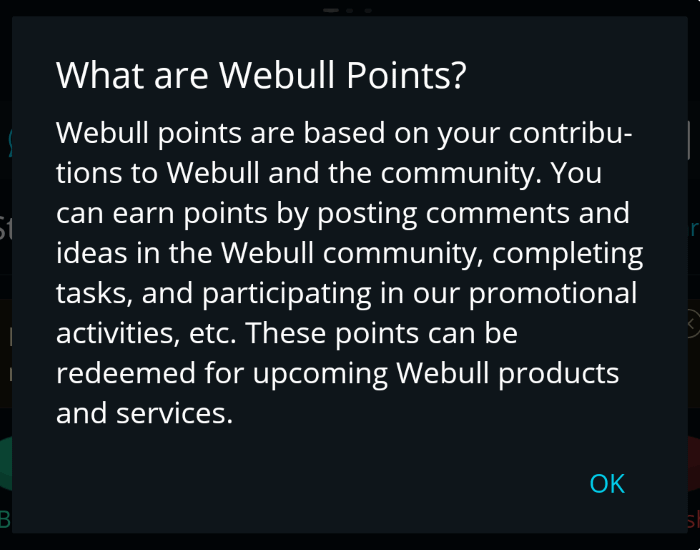 What are Webull Points? Dialog