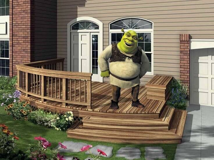 Shrek on  a Deck